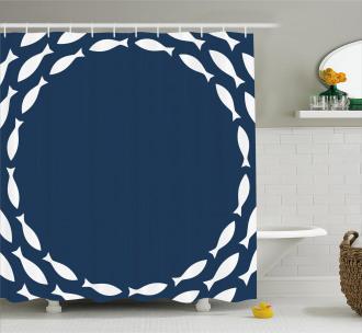 Ocean Navy Fish Circle Shower Curtain