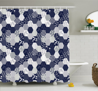 Patchwork Style Dots Star Shower Curtain
