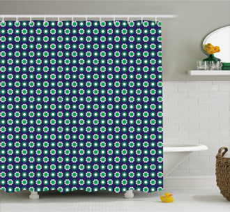 Floral and Round Dots Shower Curtain