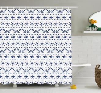 Anchor Starfish Sea Life Shower Curtain