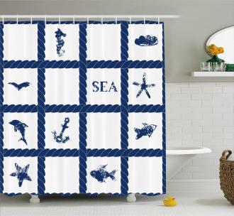 Starfish Anchor Sealife Shower Curtain