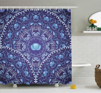 Oriental Circular Design Shower Curtain