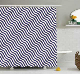 Wavy Stripes Dark Blue Shower Curtain