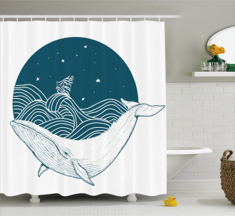 Whale and Stars Old Ship Shower Curtain