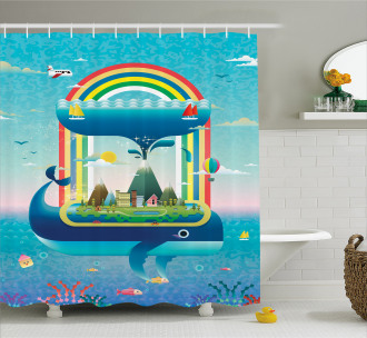 Whale Rainbow Ocean Art Shower Curtain