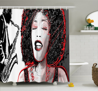 Afro American Girl Sings Shower Curtain