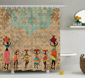 Folkloric Boho African Shower Curtain