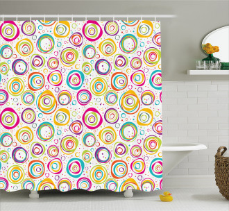 Kids Spiral and Dots Shower Curtain