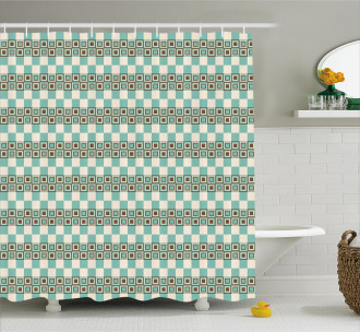 Unusual Grid Squares Shower Curtain