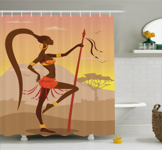 Savannah Amazon Girl Retro Shower Curtain