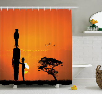Child and Mother in Desert Shower Curtain