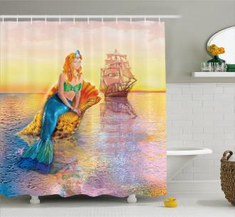 Mythical Figure Ocean Shower Curtain