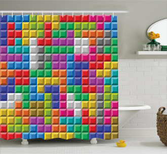 Colorful Blocks Art Shower Curtain