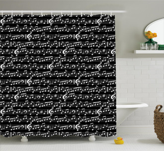 Musical Note Artsy Print Shower Curtain