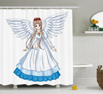 Cartoon with Angel Wings Shower Curtain
