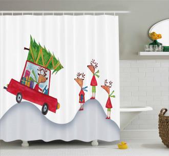 Reindeer Family Noel Shower Curtain
