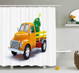 Yellow Vintage Truck Shower Curtain