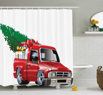 Red Farm Truck Shower Curtain