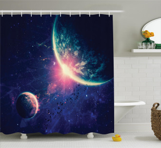 Outer Space Mars Planets Shower Curtain