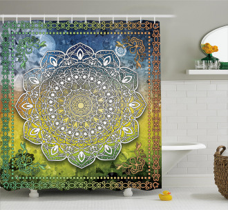 Asian Mandala Zen Boho Shower Curtain