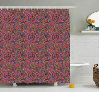 Asian Leaves Eastern Shower Curtain