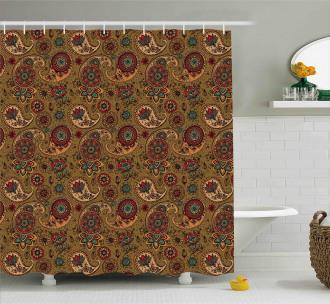 Vintage Authentic Motif Shower Curtain