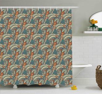Contrast Vivid Tones Shower Curtain
