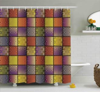 Digital Mix Motif Shapes Shower Curtain