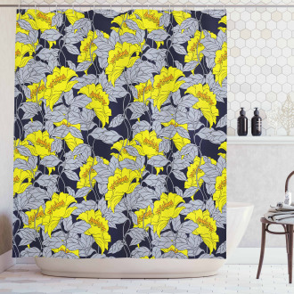 Contrast Tones Florets Shower Curtain