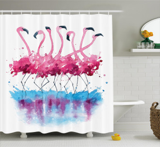 Lovely Flamingo and Bird Shower Curtain