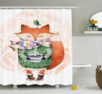 Cute Lİttle Fox and Bird Shower Curtain