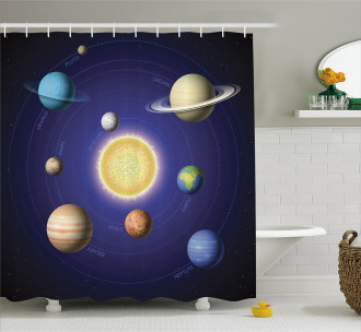 Solar System with Planets Shower Curtain