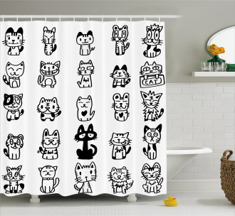 Cats with Happy Faces Shower Curtain