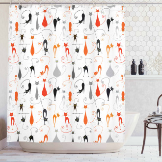 Colored Cats Friends Shower Curtain