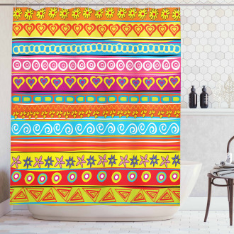 Stripes with Hearts Shower Curtain