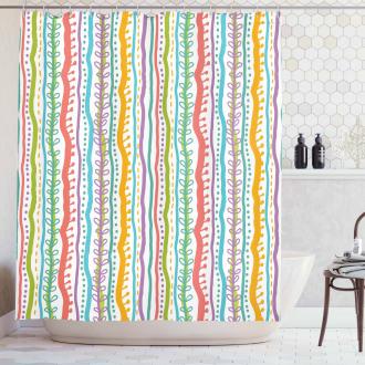 Vertical Swirl Lines Shower Curtain