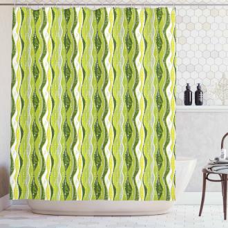 Digital Leaf Floral Lines Shower Curtain