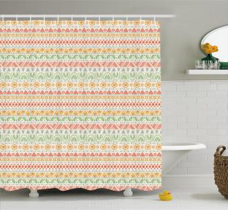 Geometric Aztec Shapes Shower Curtain