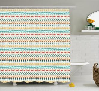 Boho Striped Motif Art Shower Curtain