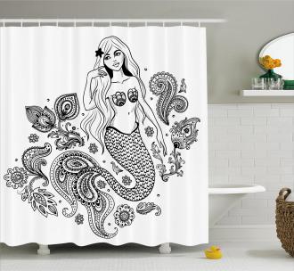 Mermaid Figure in Ocean Shower Curtain