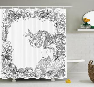 Seashells Mermaid Myth Shower Curtain