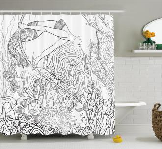 Surreal Little Mermaid Shower Curtain