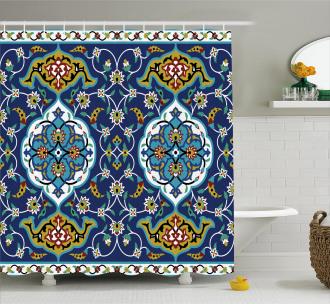Oriental Tile Effects Shower Curtain