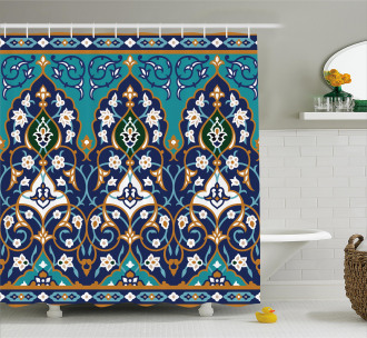 Abstract Navy Design Shower Curtain