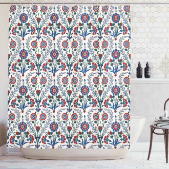 Old Floral Leaf Ornament Shower Curtain