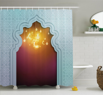 Arabic Signs and Stars Shower Curtain