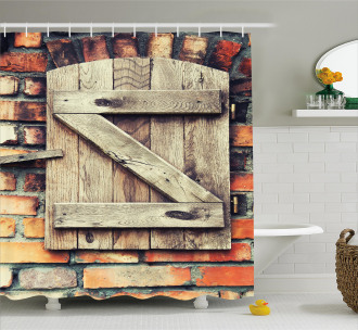 Natural Red Brick House Shower Curtain