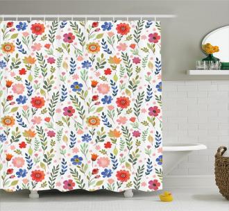 Soft Colored Floret Shower Curtain