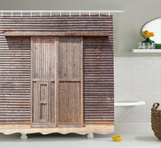 Old Wooden Timber Shower Curtain