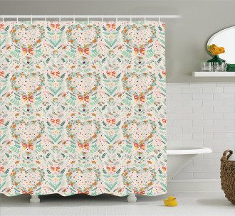 Vintage Hearts Ribbons Shower Curtain